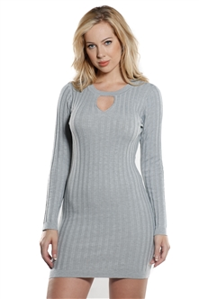 Ladies Bodycon Rib Long Sleeve Sweater Dress by Special One
