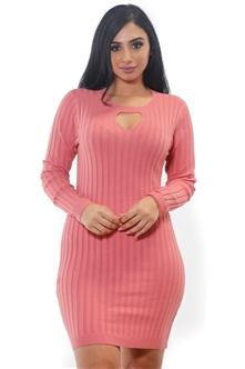 Ladies Bodycon Rib Long Sleeve Sweater Dress by Special One/ 1-2-2-1 *** Available color Black, Navy, Charcoal, Grey***