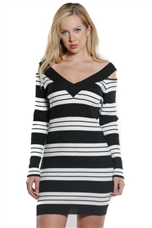 Ladies Bodycon Stripes Cold Shoulder Rib Long Sleeve Sweater Dress by Special One