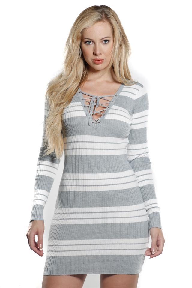 57c1ec9221 Ladies Bodycon Stripe Lace Up Front Rib Long Sleeve Sweater Dress by  Special One