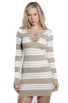 Ladies Bodycon Stripe Lace Up Front Rib Long Sleeve Sweater Dress by Special One