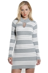 Ladies Bodycon Stripe Mock Neck Rib Long Sleeve Sweater Dress By Special One