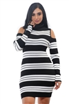 Ladies Bodycon Stripe Cold Shoulder Rib Long Sleeve Sweater Dress by Special One