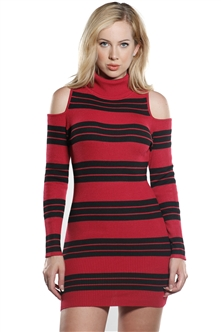 Ladies Bodycon Stripe Turtle Neck Cold Shoulder Rib Long Sleeve Sweater Dress by Special One