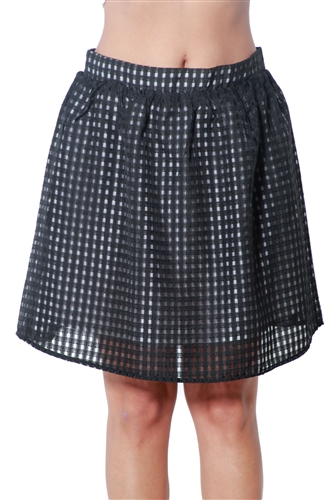3090N-J1977NEMJ-Black-Women's Stretch Waist A Line Skirt / 1-2-2-1
