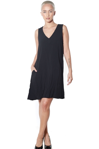 3090N-J2385MB88-Black- Women's V Neck A-Line  Dress/1-2-2-1