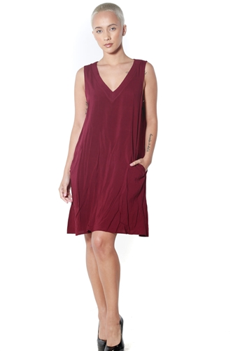 3090N-J2385MB88-Burgundy- Women's V Neck A-Line  Dress/1-2-2-1