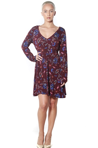3090N-J2575MH31Z-Burgundy- Women's V Neck Floral Dress/1-2-2-1