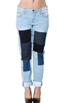 3093N-WV14685BF-Med Wash- Women's Ripped Patched Denim Jeans / 1-2-2-2-2-2-1
