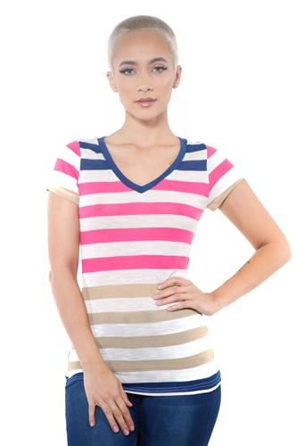 3097N-1550-Fuchsia-Women's Casual Stripe T-Shirt Short Sleeve Top / 2-2-2