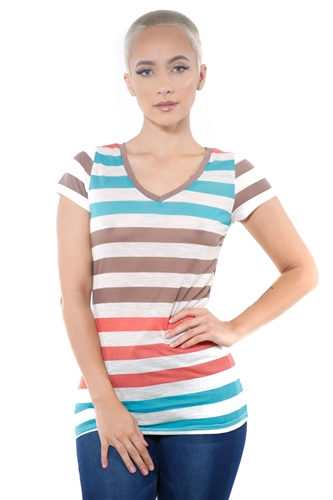 3097N-1550-Mint-Women's Casual Stripe T-Shirt Short Sleeve Top / 2-2-2