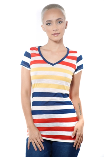 3097N-1550-Navy-Women's Casual Stripe T-Shirt Short Sleeve Top / 2-2-2