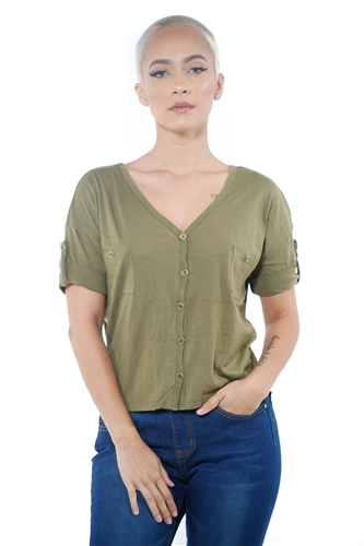 3097N-1564-Army-Women's V Neck Button Up Short Sleeve Top / 2-2-2