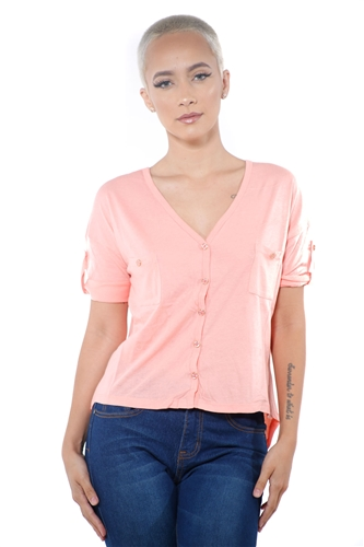 3097N-1564-Blush-Women's V Neck Button Up Short Sleeve Top / 2-2-2