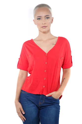 3097N-1564-Deep Red-Women's V Neck Button Up Short Sleeve Top / 2-2-2