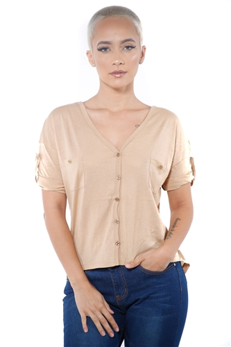 3097N-1564-Lt Camel-Women's V Neck Button Up Short Sleeve Top / 2-2-2
