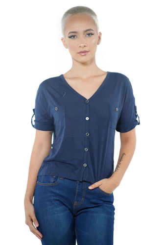 3097N-1564- Navy-Women's V Neck Button Up Short Sleeve Top / 2-2-2