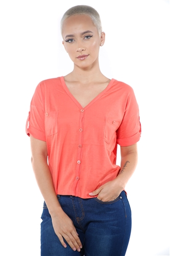 3097N-1564-Orange-Women's V Neck Button Up Short Sleeve Top / 2-2-2