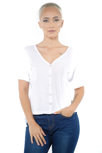 3097N-1564-White-Women's V Neck Button Up Short Sleeve Top / 2-2-2
