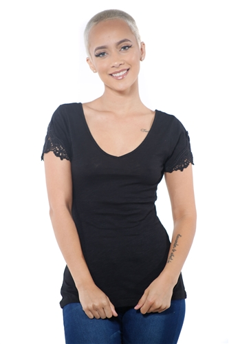 3097N-1657-Black-Women's V Neck Cap Sleeve Lace Top/ 2-2-2