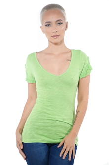 3097N-1657-Green-Women's V Neck Cap Sleeve Lace Top/ 2-2-2