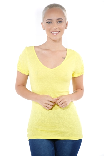 3097N-1657-Lemon-Women's V Neck Cap Sleeve Lace Top/ 2-2-2
