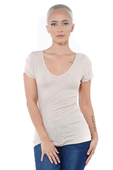 3097N-1657-Oatmeal-Women's V Neck Cap Sleeve Lace Top/ 2-2-2