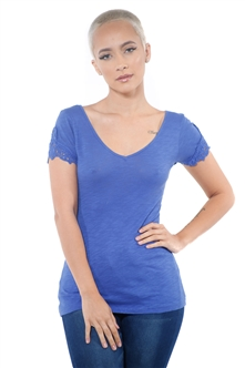 3097N-1657-Peacock-Women's V Neck Cap Sleeve Lace Top/ 2-2-2