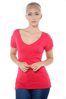 3097N-1657-Red-Women's V Neck Cap Sleeve Lace Top/ 2-2-2