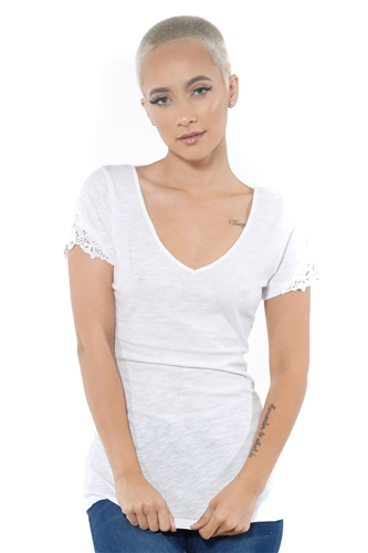 3097N-1657-White-Women's V Neck Cap Sleeve Lace Top/ 2-2-2