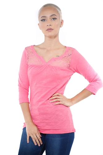 3097N-1665-Coral-Women's V Neck Lace 3/4 Sleeve Top / 2-2-2