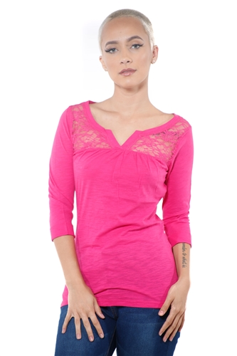 3097N-1665-Fuchsia-Women's V Neck Lace 3/4 Sleeve Top / 2-2-2