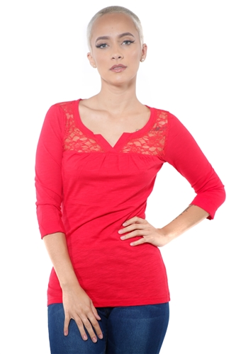 3097N-1665-Red-Women's V Neck Lace 3/4 Sleeve Top / 2-2-2