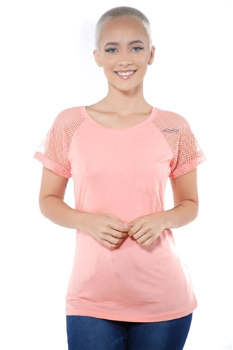 3097N-1676-Blush-Women's Fish Net Sleeve Top/ 2-2-2