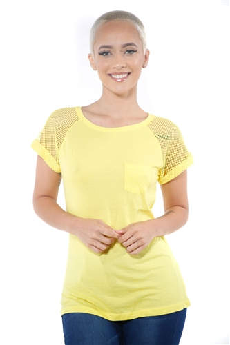 3097N-1676-Lemon-Women's Fish Net Sleeve Top/ 2-2-2