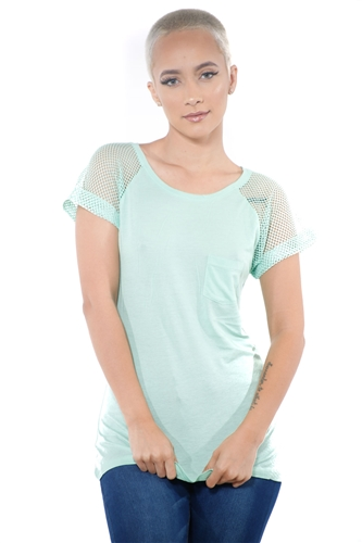 3097N-1676-Sage-Women's Fish Net Sleeve Top/ 2-2-2