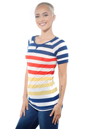 3097N-1686-Gold-Women's Casual Stripe T-Shirt Short Sleeve Top / 2-2-2