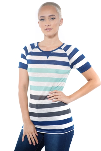 3097N-1686-Lime-Women's Casual Stripe T-Shirt Short Sleeve Top / 2-2-2