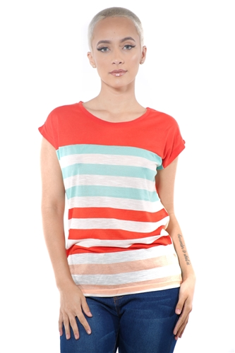 3097N-1687-Lime-Women's Casual Stripe T-Shirt Short Sleeve Top / 2-2-2