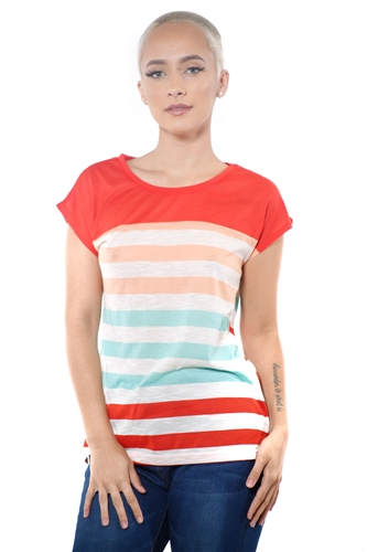 3097N-1687-Tomato-Women's Casual Stripe T-Shirt Short Sleeve Top / 2-2-2