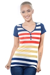3097N-1688-Gold-Women's Casual V Neck Stripe T-Shirt Short Sleeve Top / 2-2-2