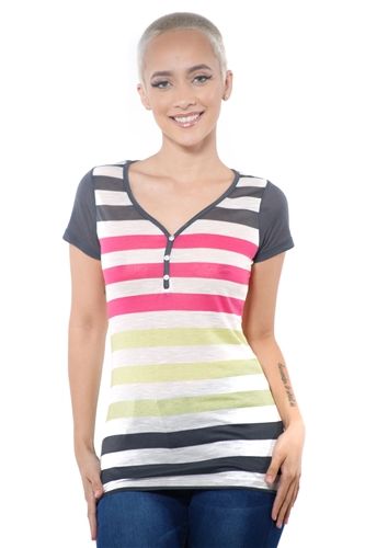 3097N-1688-Grey-Women's Casual V Neck Stripe T-Shirt Short Sleeve Top / 2-2-2