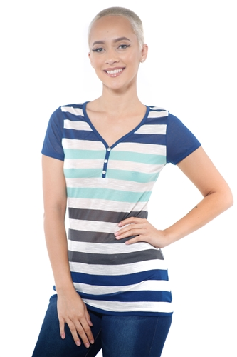 3097N-1688-Lime-Women's Casual V Neck Stripe T-Shirt Short Sleeve Top / 2-2-2