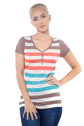 3097N-1688-Mocha-Women's Casual V Neck Stripe T-Shirt Short Sleeve Top / 2-2-2