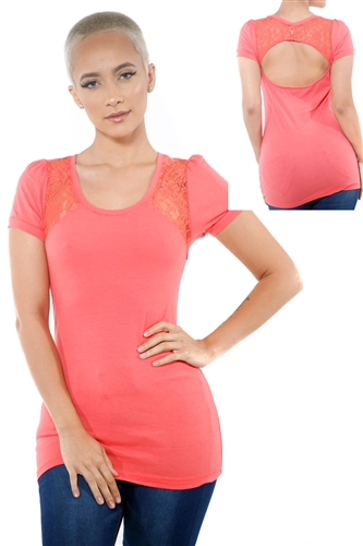 3097N-1752-Orange-Women's Lace Cap Sleeve Open Back Top/ 2-2-2