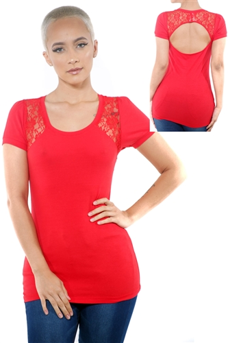 3097N-1752-Red-Women's Lace Cap Sleeve Open Back Top/ 2-2-2