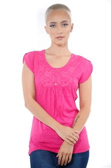 3097N-1759-Fuchsia-Short Sleeve Top / 2-2-2