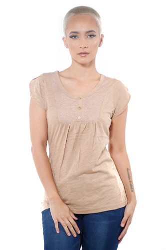3097N-1759-Lt Camel-Short Sleeve Top / 2-2-2
