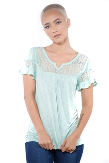 3097N-1778-Sage-Women's Lace Short Sleeve Top / 2-2-2