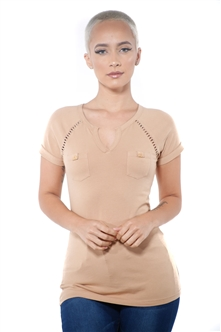 3097N-1797-Lt Camel-Short Sleeve Top / 2-2-2